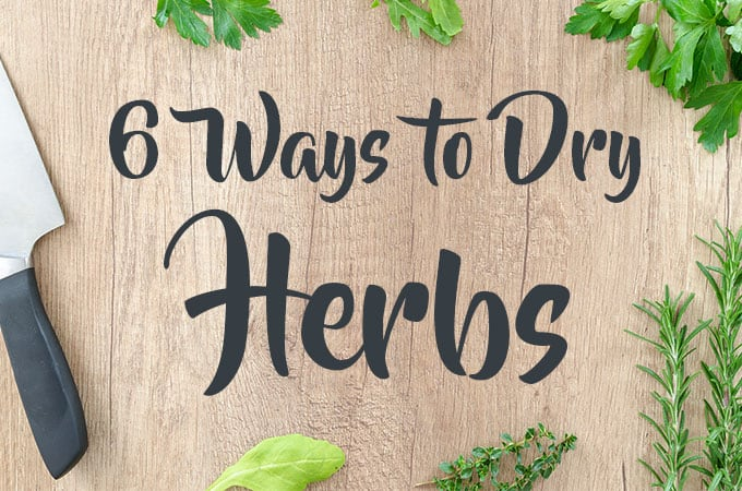 Dry Herbs on a Cutting Board with Text - 6 Ways to Dry Herbs