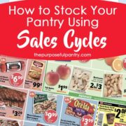 Grocery store sales ad plus calendar with text How to Stock Your Pantry Using Sales Cycles by ThePurposefulPantry.com