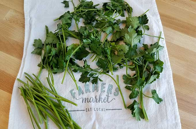 Parsley on a tea towel - how to dehydrate parsley