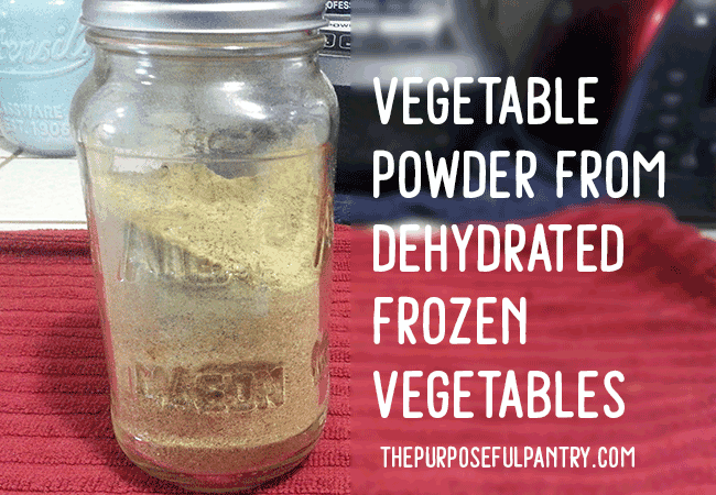 Dehydrated Vegetable Powder from frozen vegetables.
