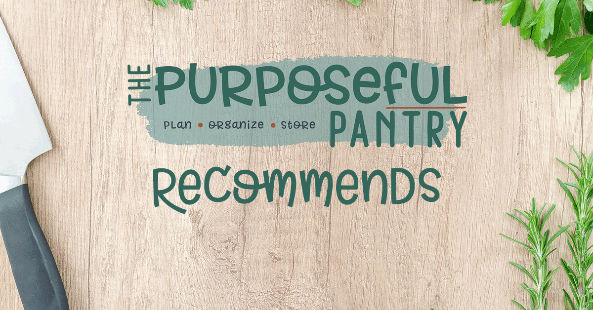 Flatlay of Purposeful Pantry Recommends words on wood background