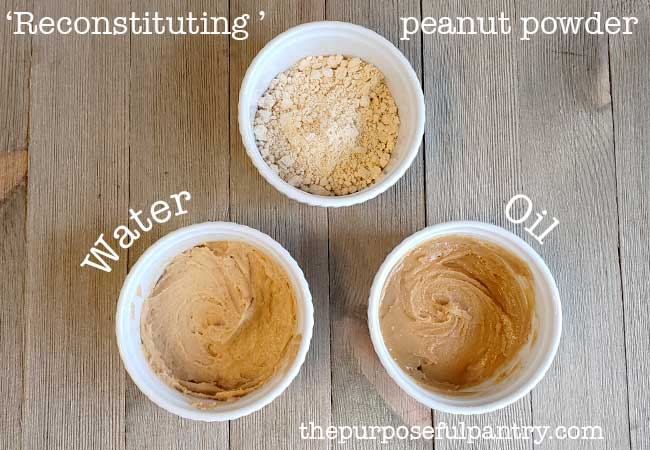3 white dishes of Peanut butter powder reconsituted into 2 version of peanut butter.