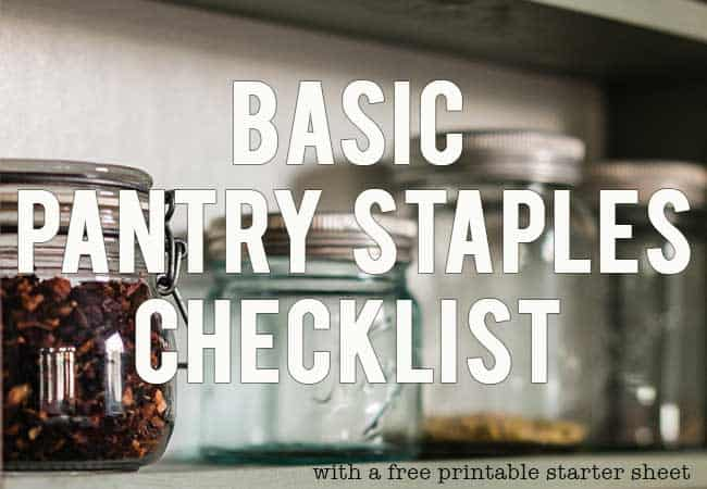 Pantry shelf with empty glass mason jars for a basic pantry staples checklist