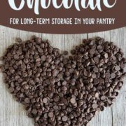 Chocolate chips formed in the shape of a heart on a wooden background with the text How to Store chocolate