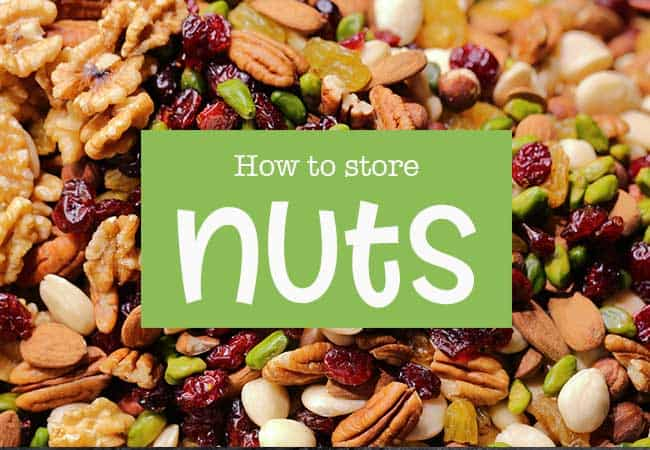 Mixed nuts background with text overlay that reads How to Store Nuts