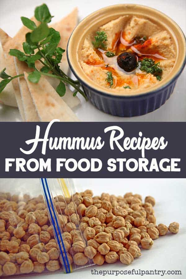 Bowl of hummus with a side of pita bread makes a great snack from your food storage.