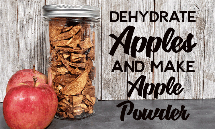 Mason Jar full of dehydrated Apples and two apples to dehydrate apples