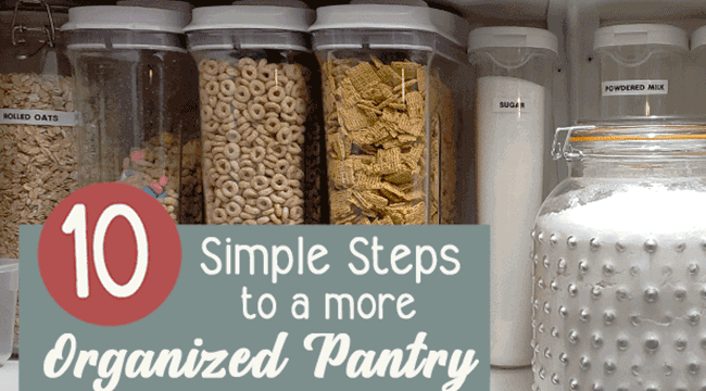 Pantry shelves with organized containers of dry storage for an organized pantry