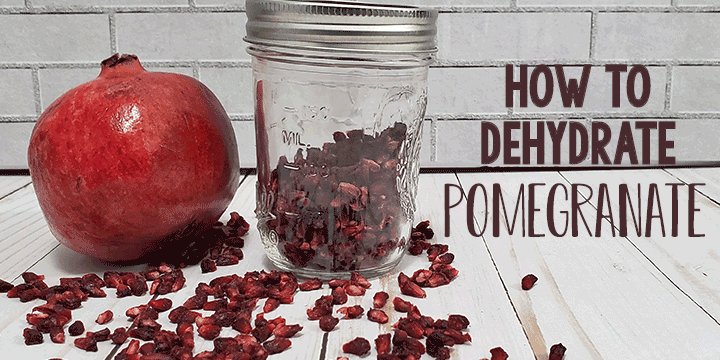 Pomegrate and jar of dehydrated pomegranate arils on white background
