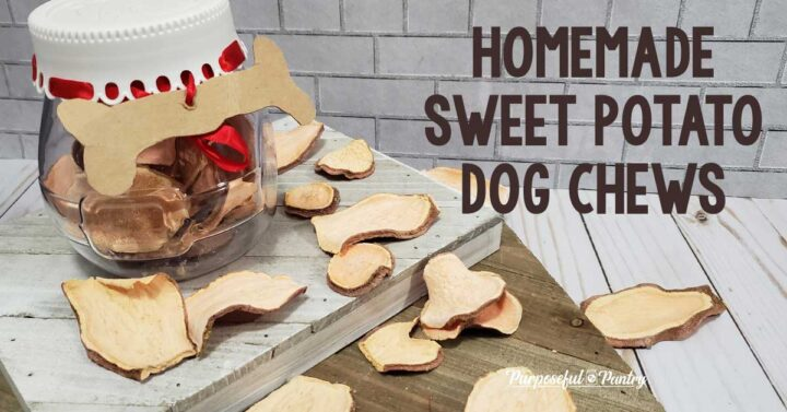 canister of sweet potato dog chews, slices on a wooden surface