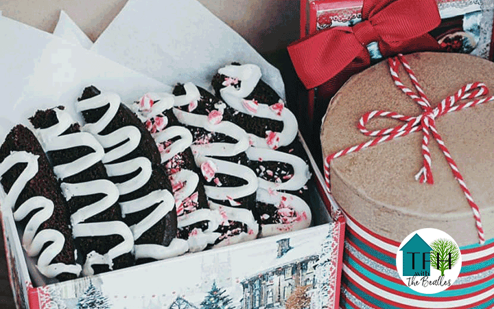 Christmas gift box full of frosted gingerbread biscotti dehydrated at home.