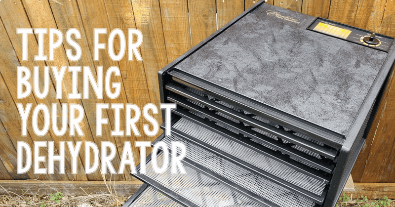 "Excalibur 9-Tray Dehydrator with text ""Tips for Buying Your First Dehydrator"""