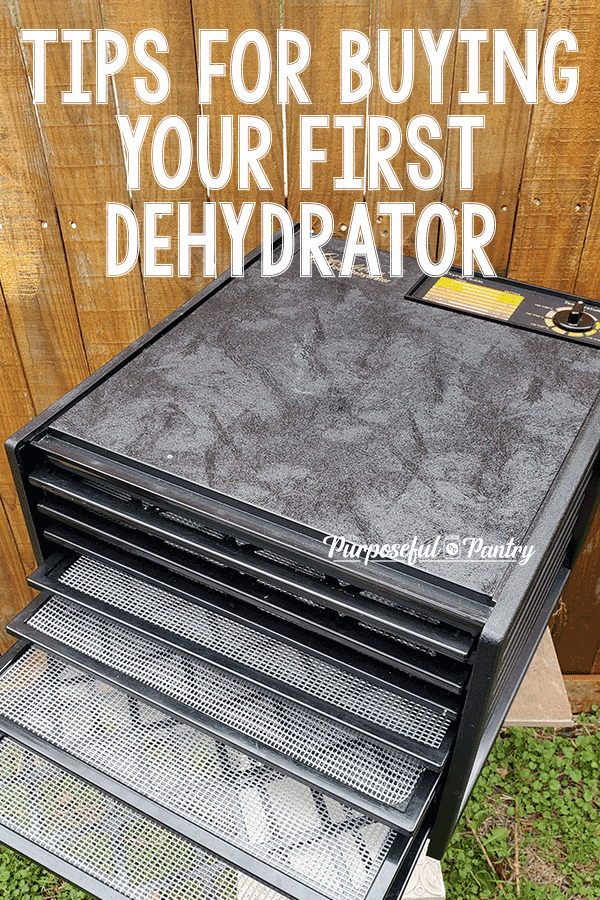 "Black Excalibur Dehydrator with text ""Tips for Buying Your First Dehydrator"""