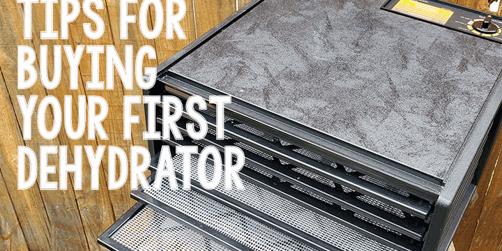 """Excalibur 9-Tray Dehydrator with text """"Tips for Buying Your First Dehydrator"""""""