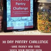 30 Day Pantry Challenge ebook loaded on a tablet sitting on pantry shelf