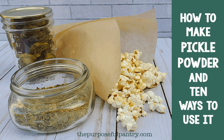 Dehydrated Pickles, pickle powder and popcorn in a parchment paper cup