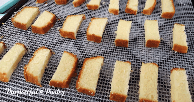 Slicked pound cake for DIY Biscotti on Excalibur dehydrator trays