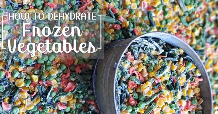 "piles of fdehydrated frozen vegetables with text overlay ""How to Dehydrate Frozen Vegetables"""
