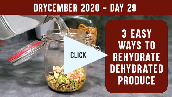 Youtube thumbnail for video showing rehydrating dehydrated vegetables