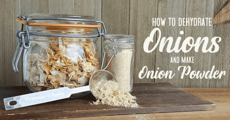 Jar of minced onion, jar of onion powder, and serving spoon with onion powder on wooden background with text: How to Dehydrate Onions and make Onion Powder""