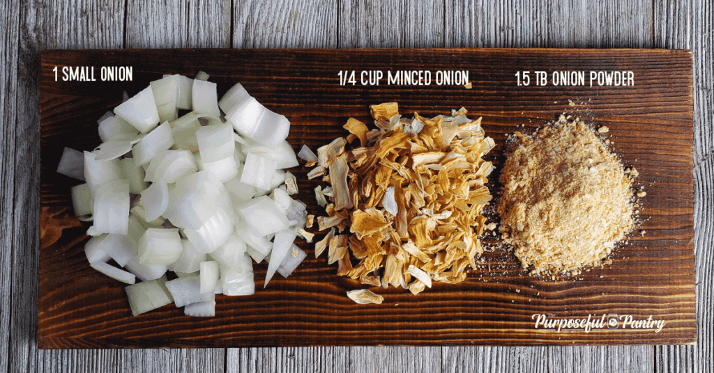 Wooden tray with diced onion, dried minced onion, and onion powder