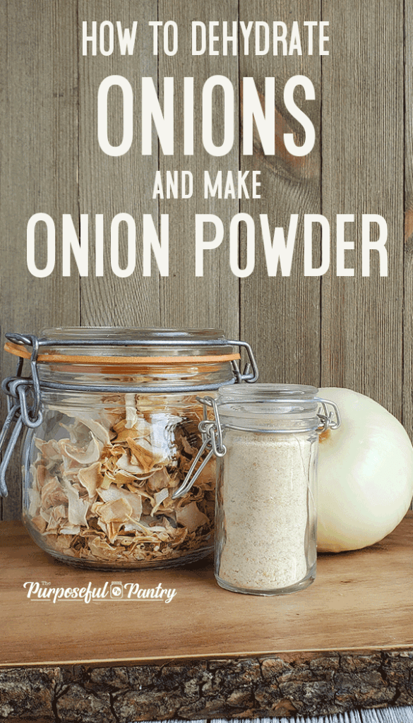 A jar of dehydrated onions and DIY onion powder on wooden background with text: How to Dehydrate Onions and Make Onion Powder