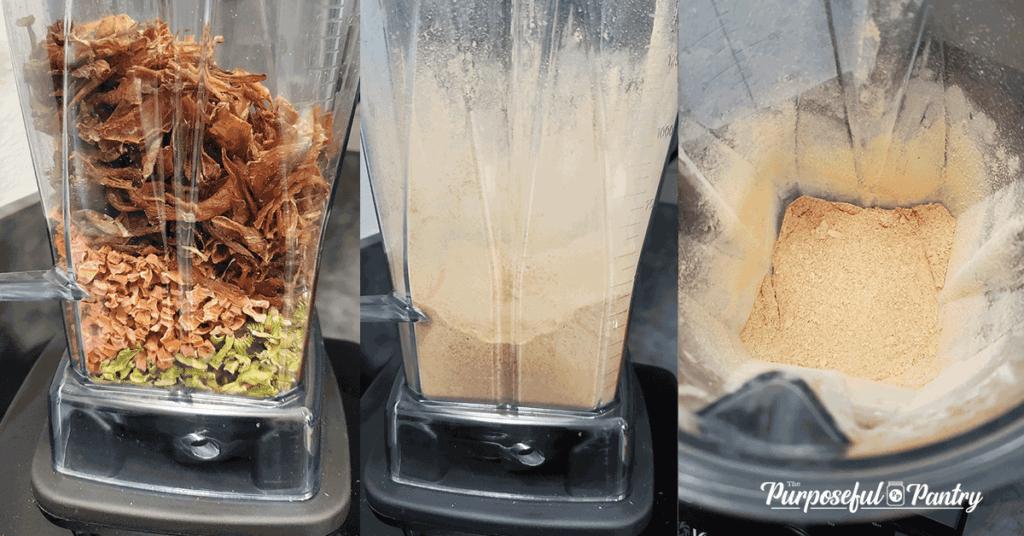 3 Vitamix Blender shots of dehydrate mirepoix powder
