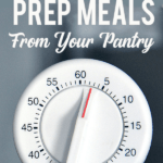 "Kitchen timer with text ""Ten-Minute Prep Meals from Your Pantry"""