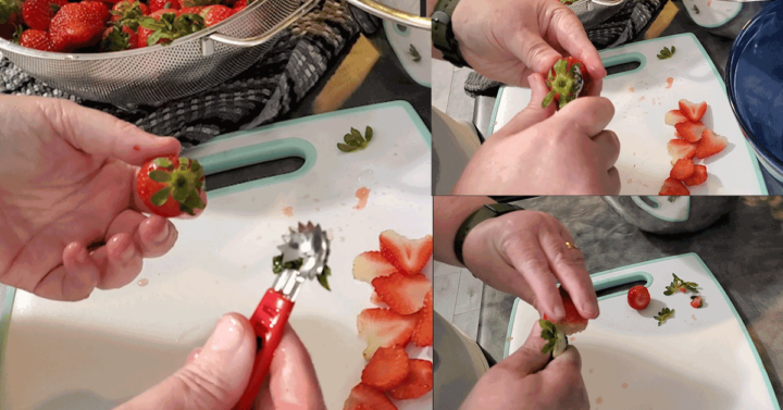 Hulling strawberries with a hulling tool in 3 different images
