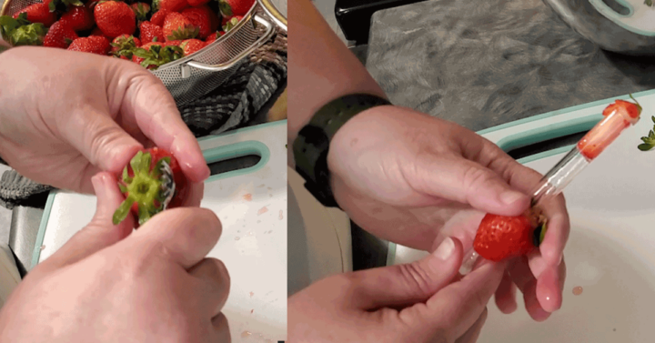 Hulling a strawberry top with a hulling tool and similar image using a glass straw to core strawberry