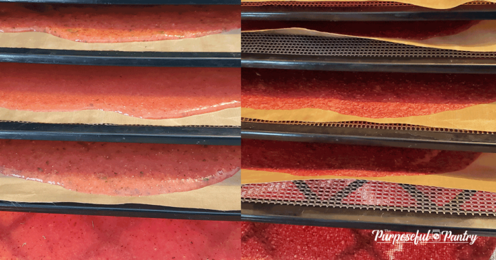 Before and after shots of strawberry puree on Excalibur dehydrator trays