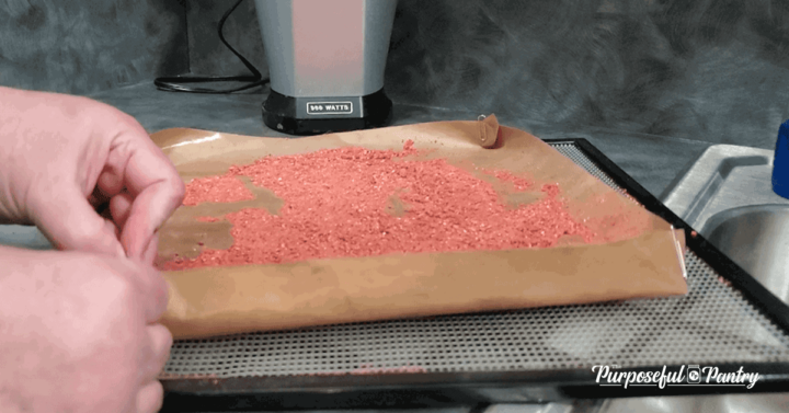 DIY liquid dehydrating tray made from fruit leather sheet, full of strawberry powder, on an Excalibur dehydrator tray