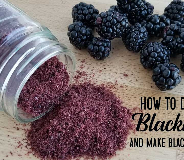 Jar of blackberry powder spilled on a table top alongside some fresh blackberries