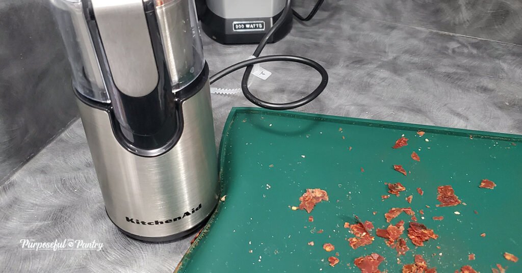 Dehydrated Picate Sauce Chips with a Kitchen Aid Coffee Grinder