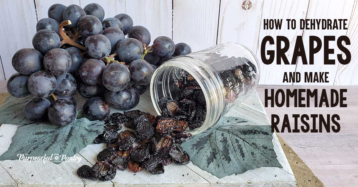 Fresh grapes, dehydrated grapes in a mason jar, and grape leaves on a wooden surface.