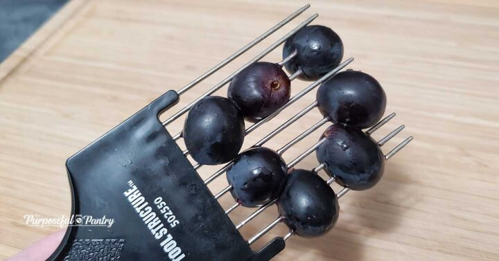 Fresh grapes on a metal hair pick to pierce prior to dehydrating