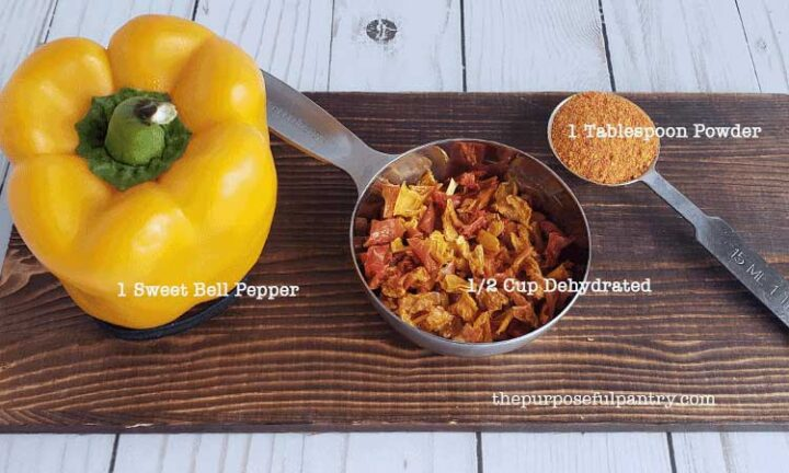 Fresh yellow bell pepper, ½C dehydrated bell pepper, 1 tablespoon bell pepper powder on wooden tray