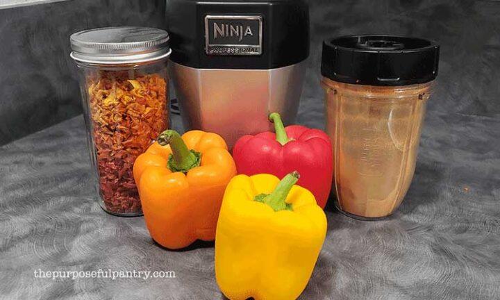 Sweet bell peppers, dehydrated bell peppers in a jar, and dehydrated bell pepper with Nutri-Ninja blender