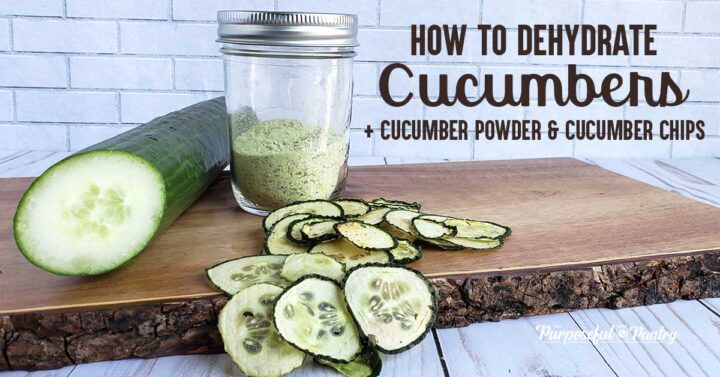 Sliced cucumber with mason jar of cucumber powder, and flavored dehydrated cucumber chips on a wooden tray.