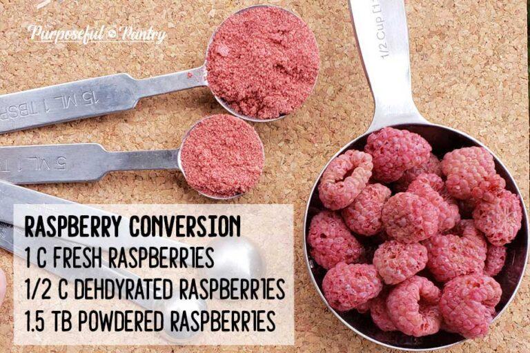 Dehydrate raspberries conversion chart - raspberries in measuring spons