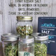 Mason jars of dehydrated celery, a box of Kosher salt to make celery salt