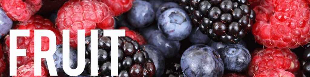 A fresh fruit blend of berries with the word Fruit on it for dehydrating fruit.