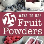 Blueberries, blueberry powder, raspberries and raspberry powder in containers on wooden backgrounds