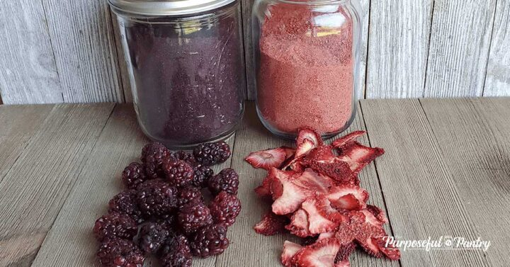 Mason jars of blackberry and strawberry powder with dehydrated blackberries and strawberries on wooden background.