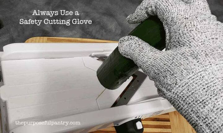 Using a cutting glove with slicing cucumbers on an OXO mandoline