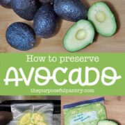 fresh and halved avocados, and images of bagged avocados to be frozen.