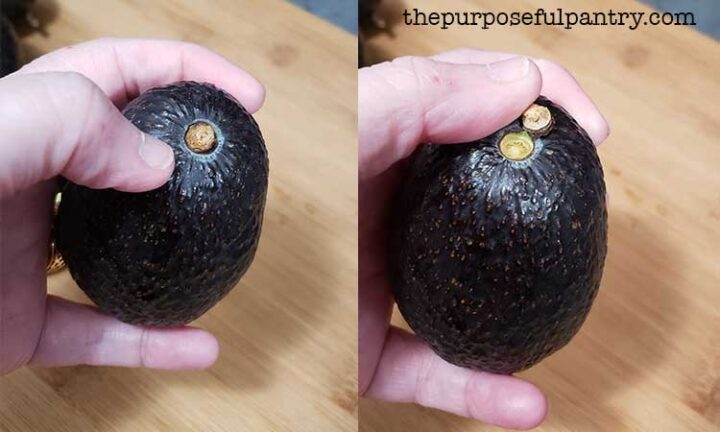 A side by side image of removing the stem end of an avocado to help determine ripeness