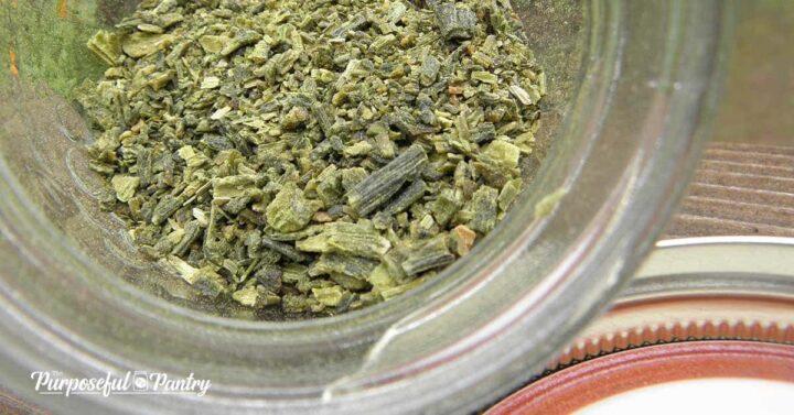 asparagus powder in a glass mason jar