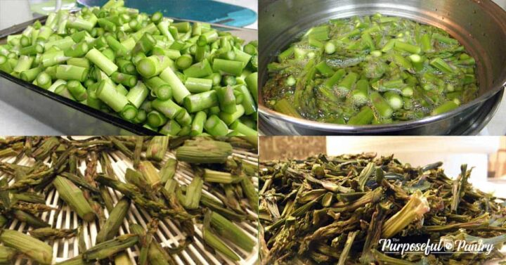 Collage of dehydrating asparagus step by step