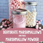 Jars of dehydrated marshmallows and marshmallow powder